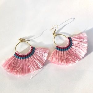 Brand New Pink Turquoise Burgundy Tassel Earrings